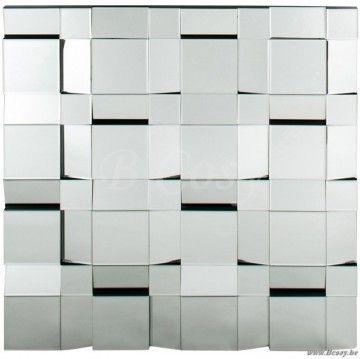 J-Line Silveren spiegel met vierkante vlakken zilver 100