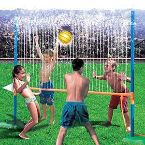 Play water volleyball, Create your own water park at home - could be made out of pool noodles and PVC pipe, neat idea