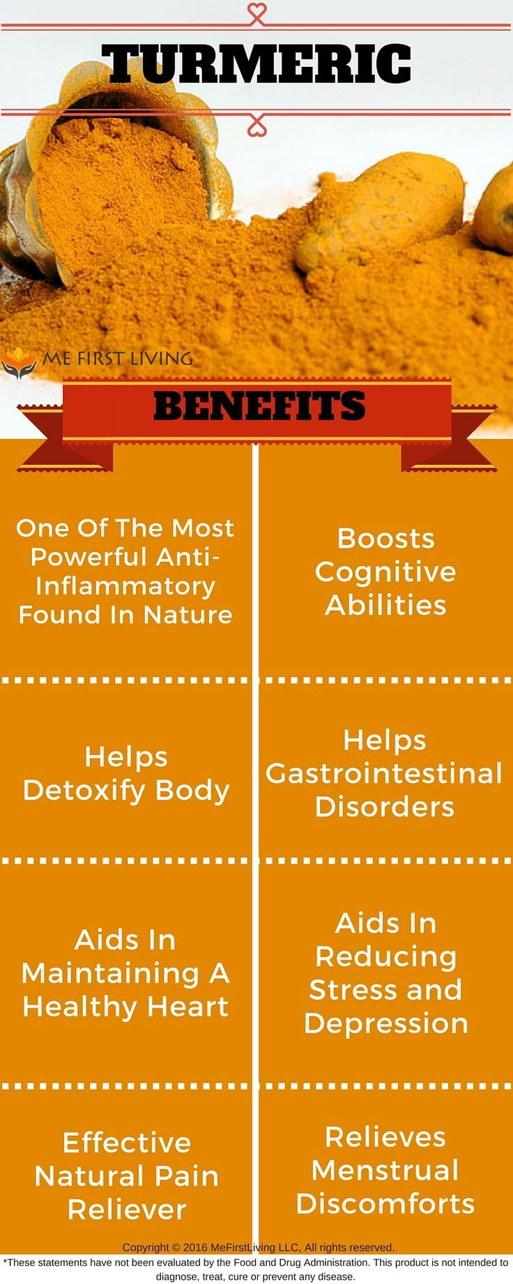 Did You know Turmeric has been known to Boost Cognitive Abilities, Help Detoxify the Body, Aid in reducing stress and depression, help gastrointestinal disorders, Aid in maintaining healthy heart, is one of the most powerful anti-inflammatory found in nature, is an Effective natural pain reliever, and Relieve menstrual discomforts
