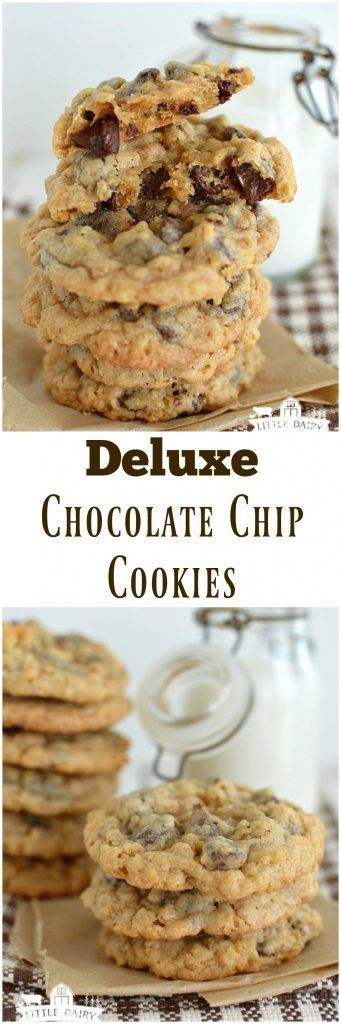 Deluxe Chocolate Chip Cookies are everything you love about chocolate chip cookies and more! They're chock full of rice crispy cereal, coconut, and chocolate chips!