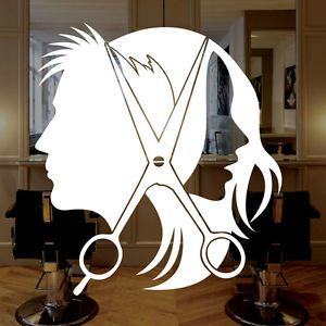 vynl hair decals | Unisex Hair Scissors Vinyl Window Sticker Decal Salon Business Signs ...