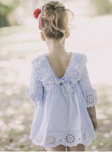 Vestido popelin rayas 'Dolce Petit' AZUL