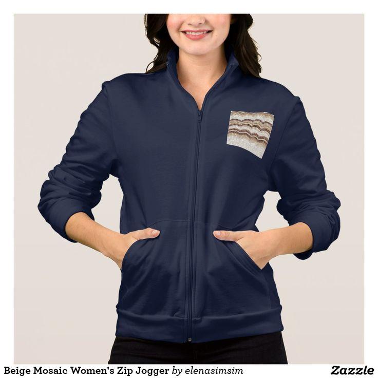 Beige Mosaic Women's Zip Jogger