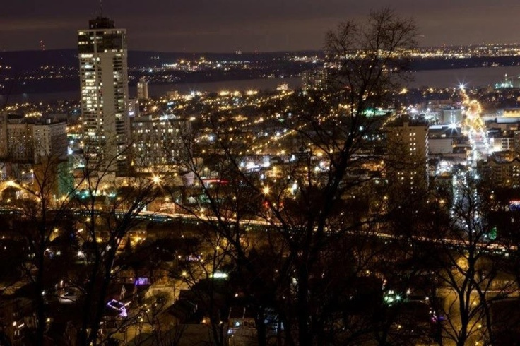 Downtown Hamilton, Ontario. View from the escarpment. Long exposure.