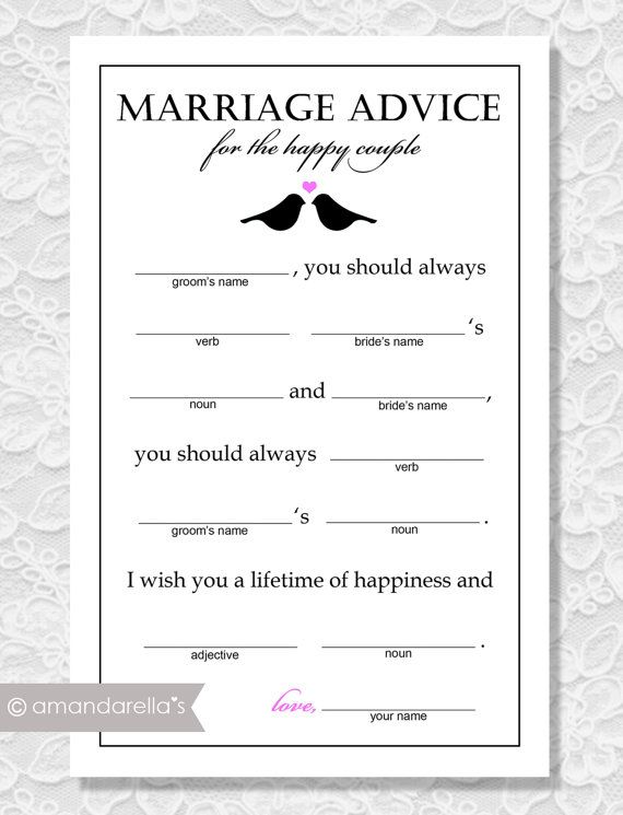 Marriage Advice Madlibs Bridal Shower Game Lovebirds