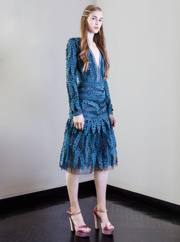PR 1724 V-Neck Embroidered Tulle Dress, Teal