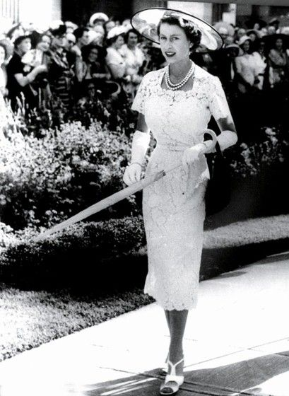 """While I was browsing through some vintage pictures for the """"Weekend Notes"""" post I am working on, I came across this photo of Queen Elizabeth II in this beautiful white lace dress during…"""