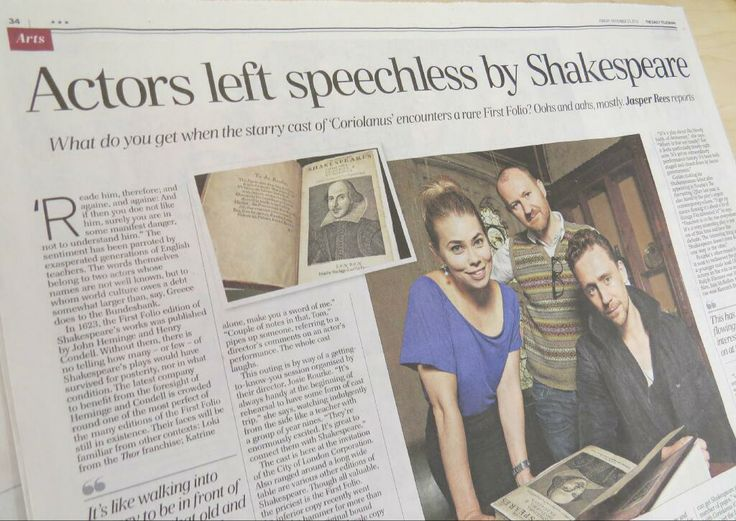 Guildhall Library ‏@Danielle Lampert Barclay Library Coriolanus cast shot, featuring @Markgatiss @Thomas Marban Marban hiddleston & @BHjortSorensen – and Guildhall Library's First Folio!