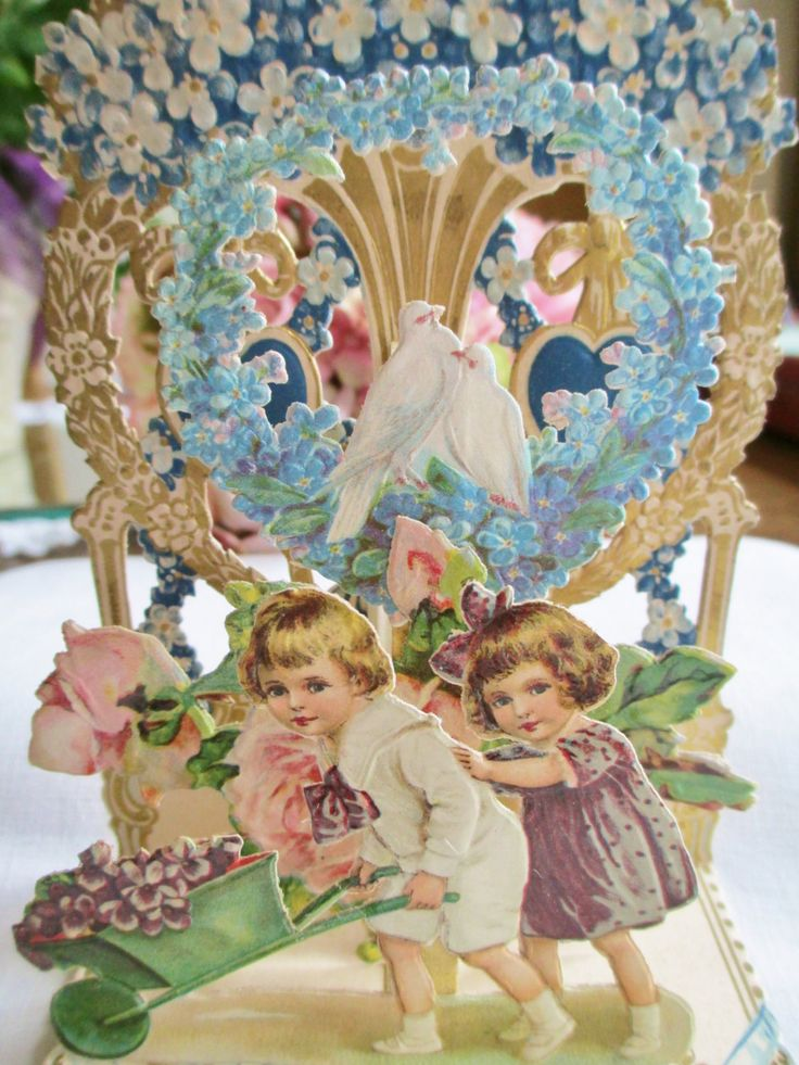 Antique 1800's 3D Pop-up VALENTINE Victorian Wheelbarrow Multi-layer Die-cut German Paper Ephemera Vintage Ephemera By Vintagelady7 by vintagelady7 on Etsy