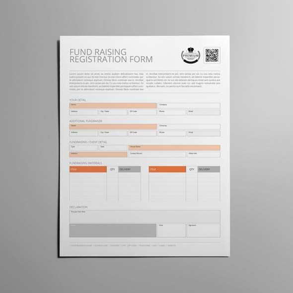 Fund Raising Registration Form Template US Letter | CMYK & Print Ready | Clean and Corporate Design | US Letter Portrait Format | Single Page Design | Easily color change (Global Swatch)