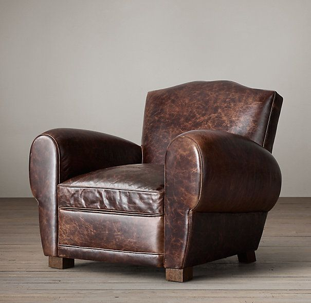 1940s French Mustache Leather Club Chair
