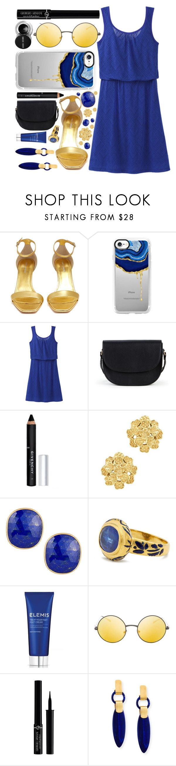 """""""Blue + Black + Gold"""" by aine-says-hi ❤ liked on Polyvore featuring Yves Saint Laurent, Casetify, prAna, Sole Society, Givenchy, London Road, Marco Bicego, Jade Jagger, Elemis and Topshop"""