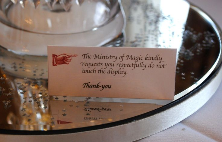 Don't touch! The Ministry of Magic is everywhere... From Sorrel & Andy's Harry Potter Wedding. Sorrel owns and runs Ambience Venue Styling North  Lancashire.