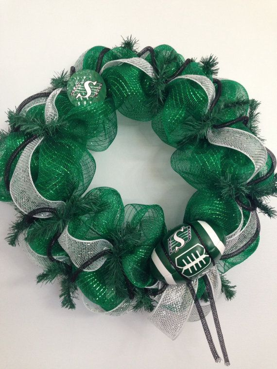 Saskatchewan Roughrider deco mesh wreath by SuesSeasonalWreaths