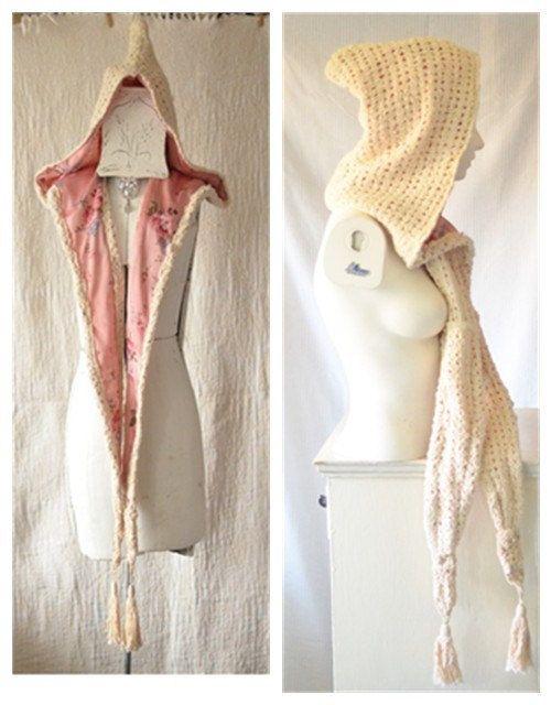 Hooded Scarf Chunky scarf Pixie hood Hood by BlackRainCouture