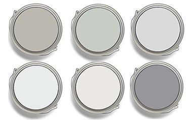 Fixer Upper Joanna Gaines: Top row: Sherwin-Williams Mindful Gray SW 7016, and Silver Strand SW 7057. Benjamin Moore Graytint 1611. Bottom row: Benjamin Moore Misty Gray 2124-60. Dunn Edwards & California Paints Faded Gray DEW 382, and Formal Gray DE6382.