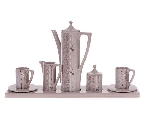 Acacia Executive Coffee Set in Stone with Acacia Pattern in brown. #coffee #ceramic #southafricandesign