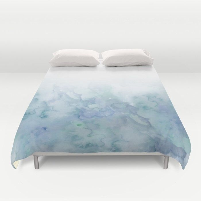 aqua watercolor duvet cover queen and king duvet cover bedroom decor bedding duvet cover by
