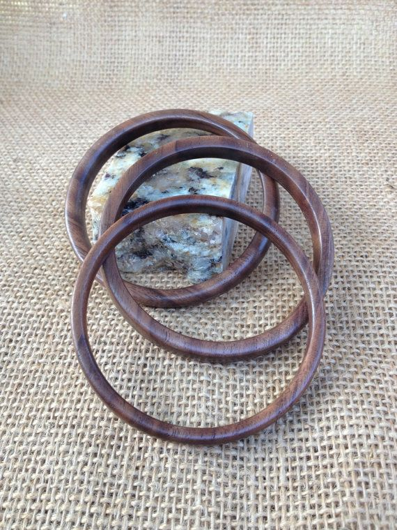 Walnut bangle bracelets (set of three)