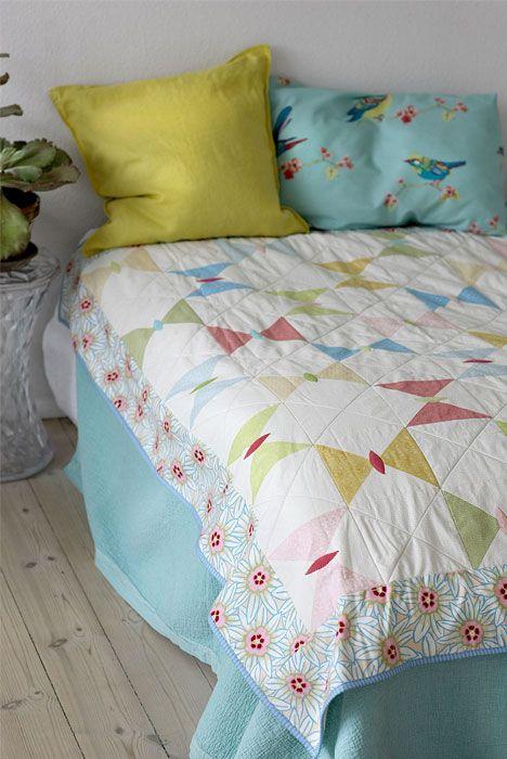 Butterfly quilt---Flot patchworktæppe med sommerfugle
