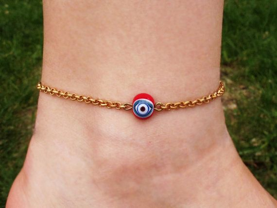Brass Chain Anklet with Evil Eye Glass Bead by GlassHouseLampwork