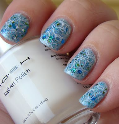 Smashley Sparkles: Bubble Nails, featuring Sonoma Nail Art 20,000 Leagues Under the Sea, MASH Stamping Plates and MASH Nail Art Polish