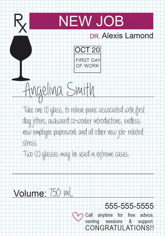 New Job Gift - Custom Wine Label - Prescription for Wine