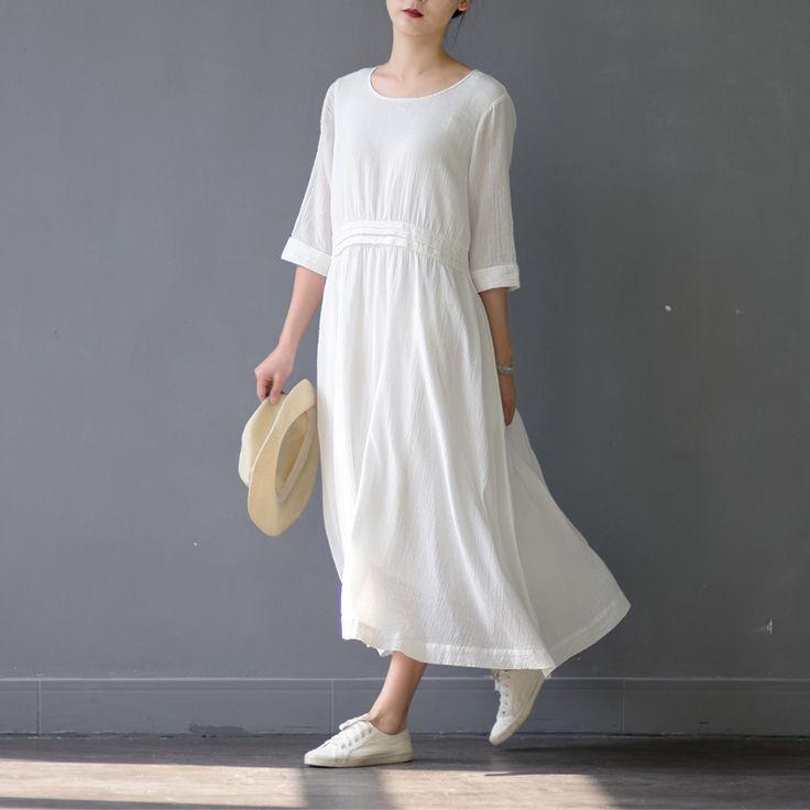 2017 spring dress o cuello media manga de la vendimia mujeres largas de algodón dress flojo ocasional lindo vestidos blancos vestidos s305 en Vestidos de Ropa y Accesorios de las mujeres en AliExpress.com | Alibaba Group
