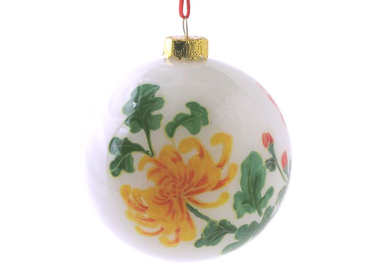 Yellow and Red Peony Eglomise Ornament