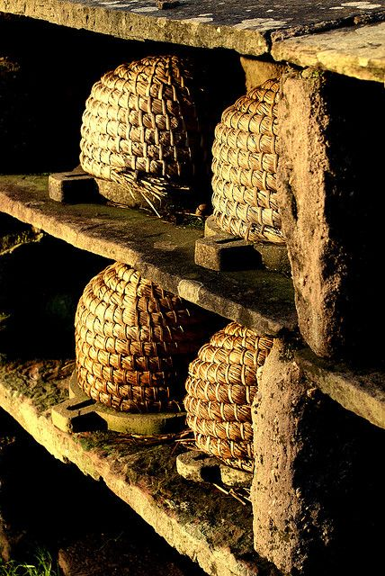 Straw skep diy http://www.colonialsense.com/How-To_Guides/Outdoors/Bee_Skep.php  -- Bee Hives  St Fagans Museum of Welsh Life, Cardiff. Straw bee hives in the garden.