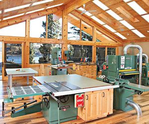 """The """"over-the-top"""" workshop — Nestled in the forest on a shore of Lake Chelan in central Washington State, Mike's 1,670-square-foot workshop is the epitome of organization. From the outset, plenty of storage space and an efficient workflow dominated the planning. """"I am obsessed with organization,"""" Mike says, """"and we spent a lot of time planning spaces to accommodate all of the tools and accessories."""""""