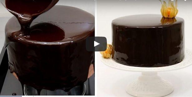 How To Make Chocolate Mirror Glaze. Shiny chocolate glaze recipe easy to make at home. ...