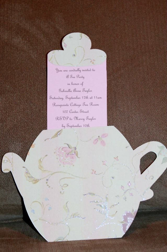 handmadest birthday party invitations%0A Little Girl u    s Tea Party Birthday invitation idea