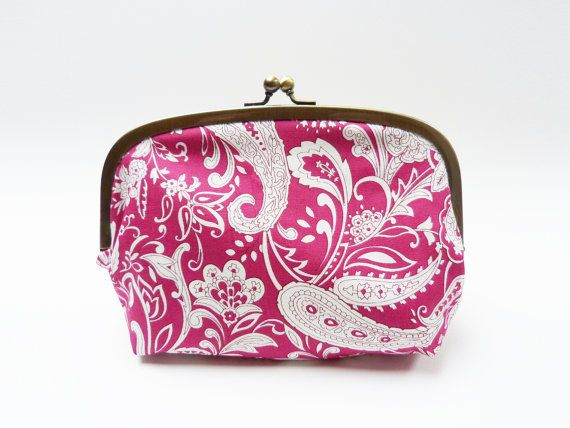 Cosmetic bag pink and white paisley design cotton by cheekyleopard