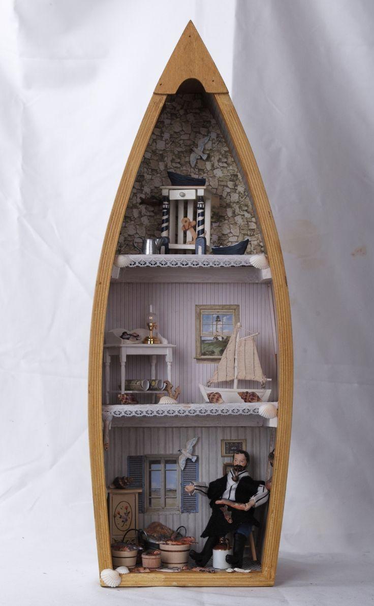 Fischerstube 1:12 in einem Boot