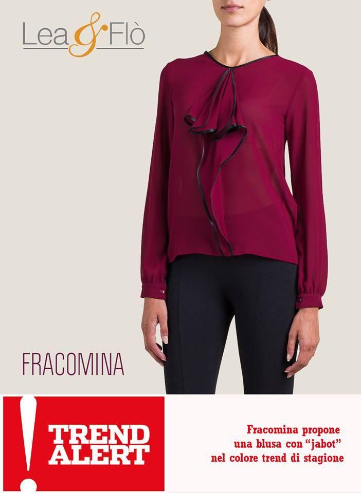 5 ultimissime tendenze di stagione #AW1516! Il #top: la camicia con collo a #fiocco o, in alternativa, con un mini jabot. Possibilmente nel colore: #Burgundy. Potete chiamarlo #bordò o #marsala scuro. Un rosso violaceo (che ricorda alcuni vini) sarà il colore per eccellenza! #FRACOMINA