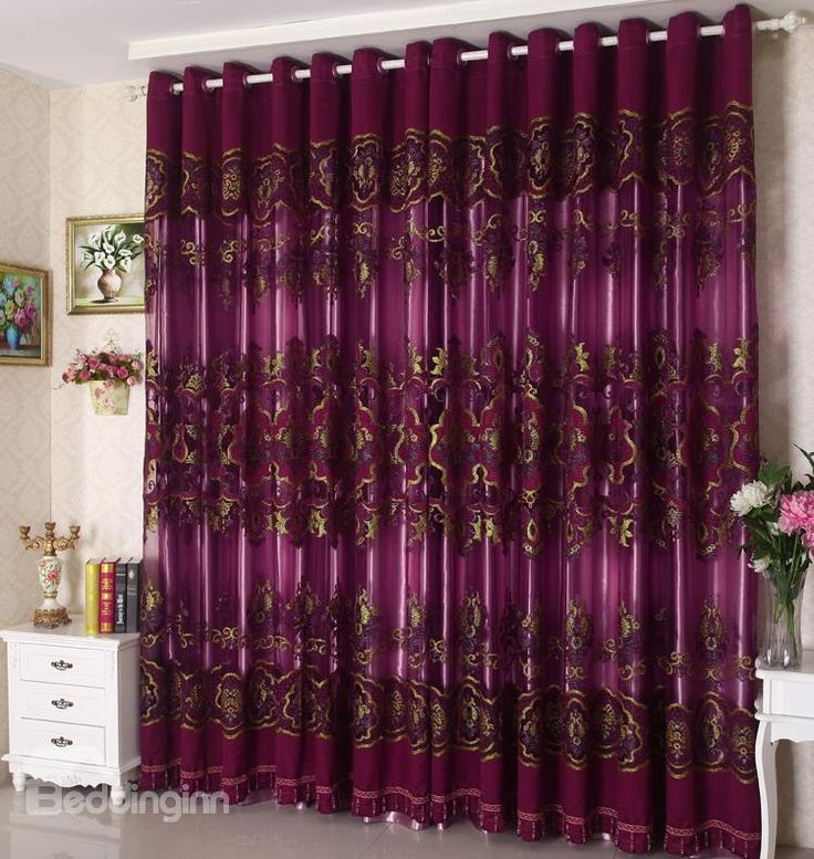 New Arrival High Class Purple Luxury Pattern Custom Sheer Curtain