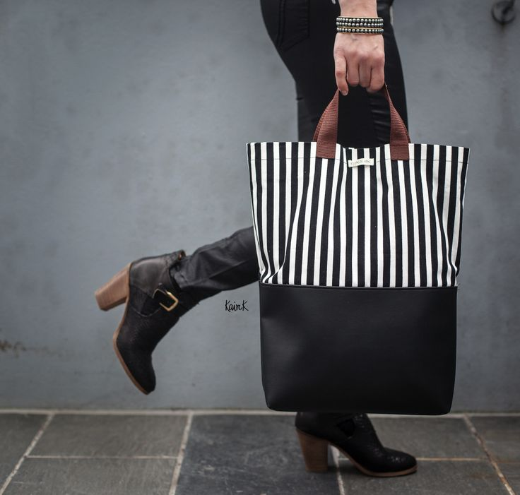 shopper bag stripes black and white