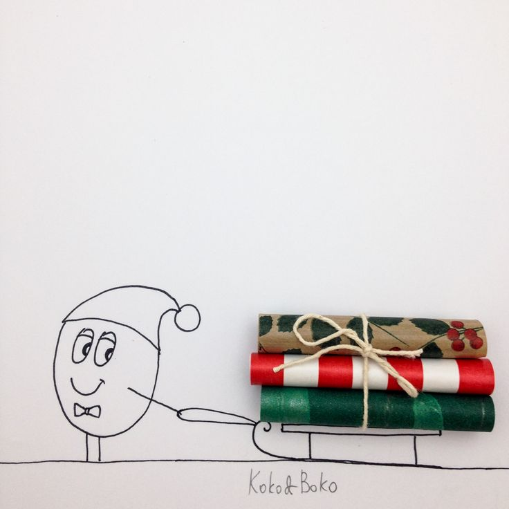 Christmas wrapping :)  http://instagram.com/kokoandboko #kokoboko #story #christmas #red #green #boko #drawing #smile #happy #illustration #art