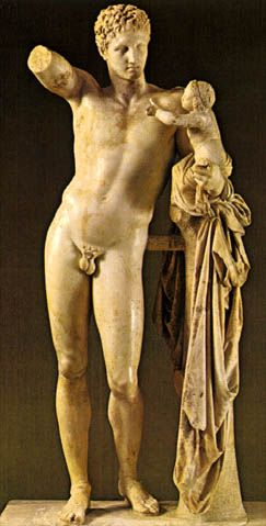 Escultura Griega: Hermes sosteniendo a Dionisos niño: Hermes con el niño Dioniso es una escultura griega de mármol con una altura de 213 centímetros que se encuentra en el Museo Arqueológico de Olimpia. Su autoría se atribuye al escultor Praxíteles del período clásico final o bien, según otros autores, se trataría de una copia del siglo I de un original del mismo artista del 350-330 a. C.