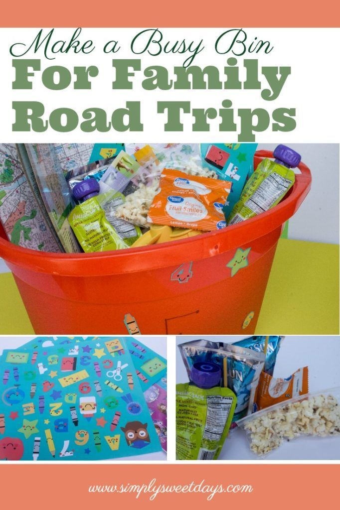 Fun kids activity for long road trip with little ones. Make a busy bin to keep your toddler or preschooler entertained on the drive! A cheap and super simple alternative to DVDs or tablets in the car. #ad #RoadTripOil #CollectiveBias
