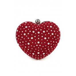 Studded Heart Clutch
