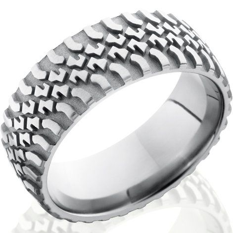 Men S Anium Tire Tread Wedding Ring