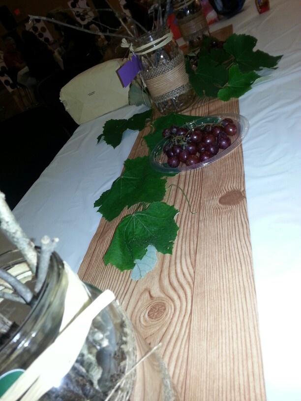 """Table decor created  for a church luncheon """"I am The Vine you are the branches"""""""