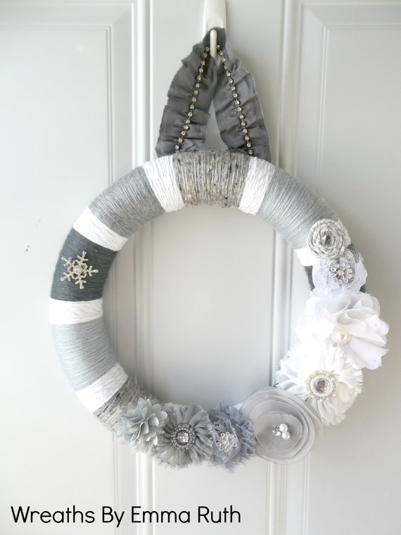 White & Gray Winter Yarn Wreath with sparkle by WreathsByEmmaRuth, $45.00