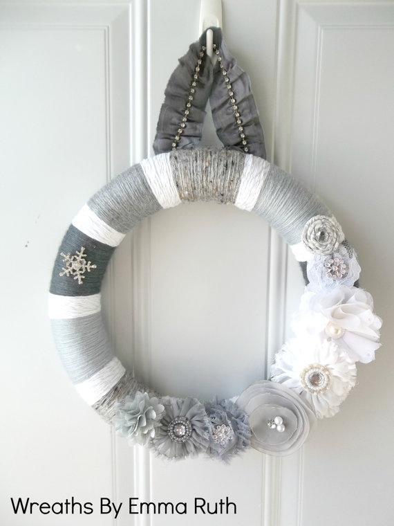 White & Gray Winter Yarn Wreath with sparkle by WreathsByEmmaRuth, $45.00
