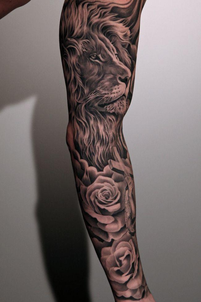 Amazing lion tattoo by Jun Cha