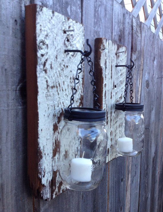 Rustic barn wood mason jar wall sconces | Rustic barn ...
