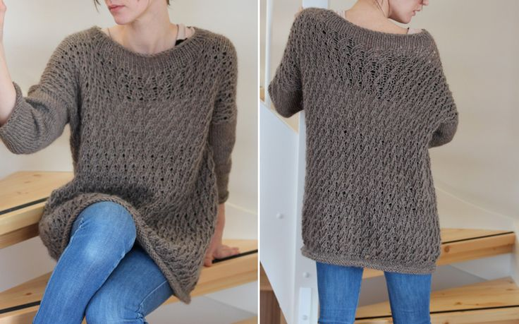 Baggy wave-sweater ~ For a fashionable way to stay cozy and comfy, try free knitting patterns for sweaters like the Baggy Wave Sweater. With a loose, flowy fit and alpaca wool, easy knitting patterns like this are the epitome of comfort.