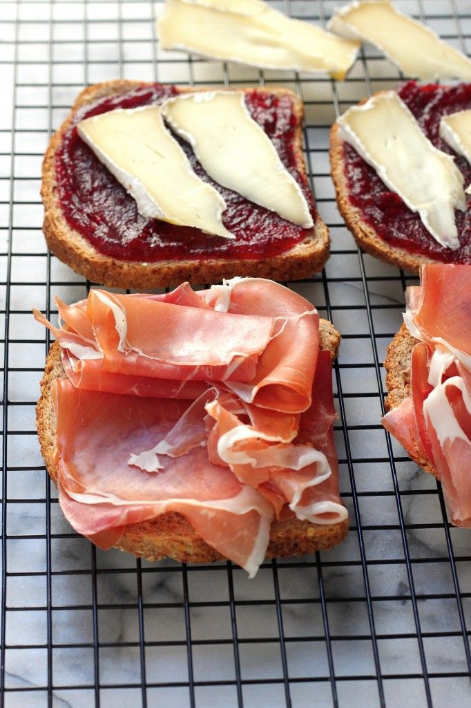 Cranberry, Brie, and Prosciutto Grilled Cheese.  Great use for leftover cranberry sauce!